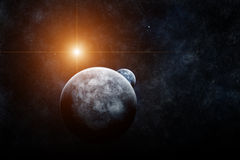 Planet with Moon and Star on background Royalty Free Stock Image