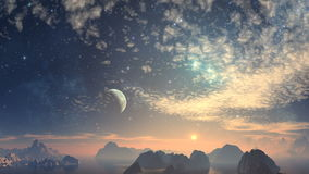 Planet, moon, sun, nebulae, stars, clouds, space, sky, night stock video footage