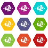 Planet and moons icon set color hexahedron. Planet and moons icon set many color hexahedron isolated on white vector illustration Royalty Free Stock Photo