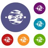 Planet and moons icons set. In flat circle red, blue and green color for web Stock Photography