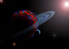 Planet and moons in space. Planet with blue rings and moons in space Royalty Free Stock Photography