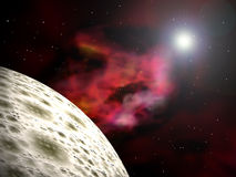Planet and nebula. Spacescape with a  planet and a bright star. 3D rendered scene Royalty Free Stock Image
