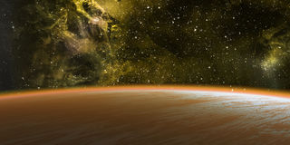 Planet and nebula. Royalty Free Stock Photography