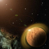 Planet with nebula and stars in galaxy. View on extrasolar planet, nebula and stars in deep space stock illustration