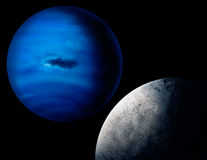Planet Neptune Digital Art Illustration. A digital painting of the planet Neptune and one of its larger moons, Triton Royalty Free Stock Photo