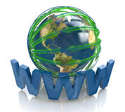 Planet and network in the direction Royalty Free Stock Photos