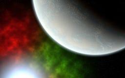 Planet och blå sol arkivfoton