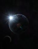 Planet- och månetappning royaltyfri illustrationer