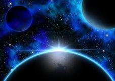 Planet och Nebula Royaltyfri Illustrationer