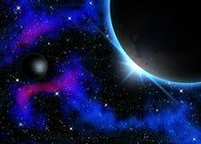 Planet och Nebula Vektor Illustrationer