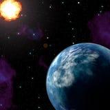 Planet och sol Arkivbild