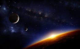 Planet och stjärnor royaltyfri illustrationer