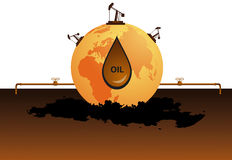 Planet of oil. Earth with oil derricks on it Royalty Free Stock Images