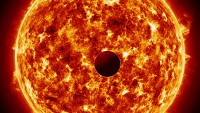 Planet orbiting sun like star. Outer space, universe exploration concepts stock footage
