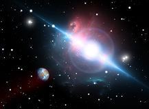 The planet orbits the pulsar In the danger zone. Illustration Royalty Free Stock Photo