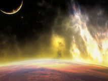 Planet Over View. View over a planet with flames, stars and moon Royalty Free Stock Photos