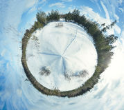 Planet panorama. Winter panorama in the sunny day Royalty Free Stock Photos