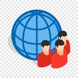Planet and people isometric icon Stock Image