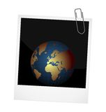 Planet on photo frame background Stock Photos