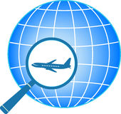 Planet and plane in magnifier Stock Photography