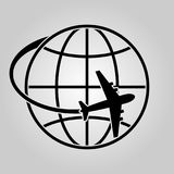 Planet and plane. Symbolic image of the planet and the airplane. Travel and business concept. Vector illustration Royalty Free Stock Photography