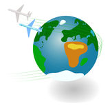 Planet and planes Royalty Free Stock Photos