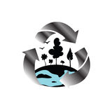 Planet protection symbol. Environmental protection symbol depicting planet Earth stock illustration