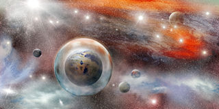 Planet in protective sphere Royalty Free Stock Photo