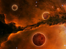 Planet and red Nebula Royalty Free Stock Photography