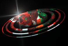 Planet, red orbits, star image, earth, galaxy design and background royalty free stock images