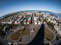 Planet Reykjavik. View of Reykjavik from Hallgrimskirkja (Iceland Stock Images