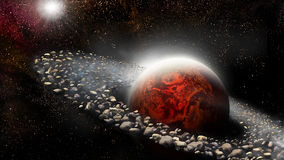 Planet with ring of asteroids Stock Image