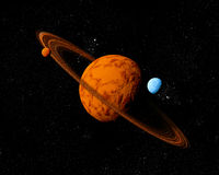 Planet with ring and moons. Stock Images