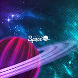 Planet with rings on colorful galaxy background, sturdust and nebula. Vector illustration. Planet with rings on colorful galaxy background with sturdust and royalty free illustration