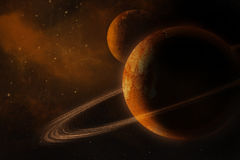 Planet with rings. In universe Royalty Free Stock Photography