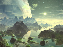 Planet Rise over New Eden. A stunningly beautiful scene - the huge planet rises over the mountain lake landscape of a newly terraformed world.  The mountain tops Stock Images