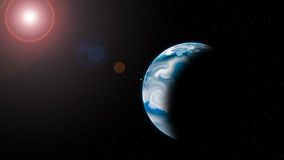Planet with Rising Sun Royalty Free Stock Photo