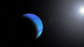 Planet with Rising Sun. Bluet planet with Rising Sun in space, Ilustration royalty free illustration
