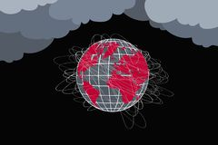 Planet at risk. Globe in red and black colors, many lines royalty free stock image