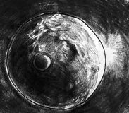 Planet and it's moon sketch. Hand drawn pencil sketch of a barren planet, it's little satellite and a sunrise Stock Photography