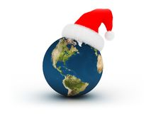 Planet in Santa`s hat. 3d illustration of Earth in red hat isolated on white background Stock Photography