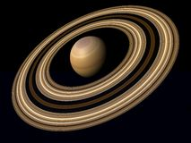 Planet saturn. Brown and yellow Royalty Free Stock Photography