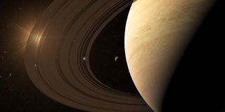 Planet Saturn along with its satellites in space royalty free illustration
