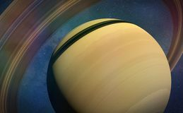 Planet Saturn close up. Artist`s impression of the ring planet Stock Photos