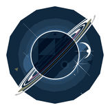 Planet Saturn with rings. Star war, space fiction, flat illustration Royalty Free Stock Photos