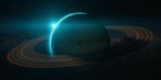 Planet saturn with rings at sunrise Stock Image