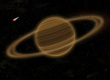 Planet Saturn in space. Illustration. Planet Saturn with rings in space, near a sun Stock Photo