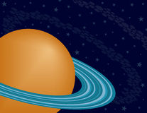Planet Saturn on a Starry Sky. Orange Planet Saturn on a Starry Sky Background Stock Image