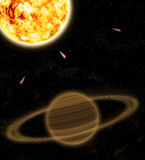 A planet is Saturn and sun. Illustration. Planet Saturn with rings in space, near a sun Stock Image