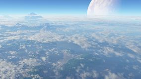 Planet science fiction. Aerial view of a mountainous planet Royalty Free Stock Images